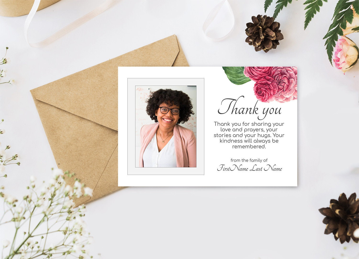 Roses Funeral Thank You Cards. Printable Sympathy Thank You, Editable  Bereavement Thank You Card - Online Edit Digital Download Within Sympathy Thank You Card Template