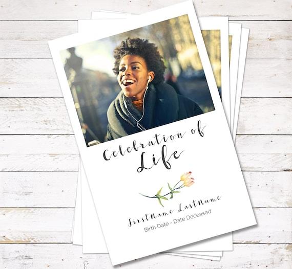 Flower Funeral Program Template And Order Of Service Celebration Of Life Program Online Edit Printable Digital Download