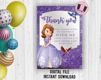 Thank You Cards Sofia The First Etsy