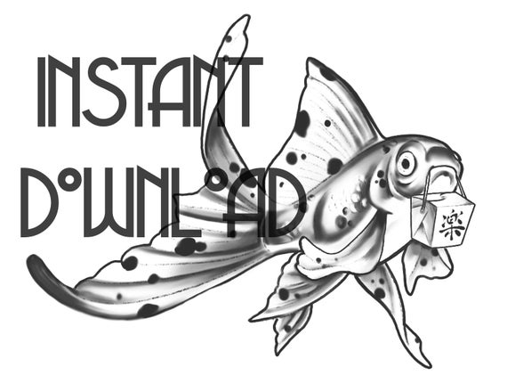 Instant Download Printable Coloring Page Fancy Goldfish with takeout  coloring page for adults