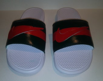 fca22106a5bda0 Custom Painted Gucci Inspired Nike Slides