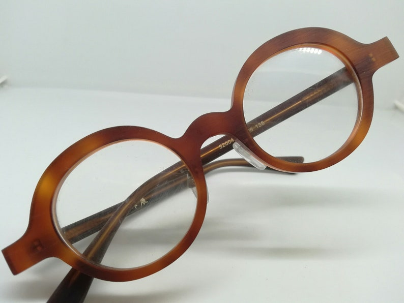 VINTAGE N.O.S. JAPAN round matte amber tortoise eyeglasses SUNGLASSES avant garde preppy ivy league bookworm (hand made) new old stock N.O.S
