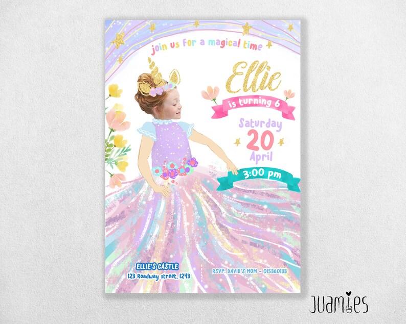 photograph relating to Unicorn Birthday Card Printable named Customized card, Printable Unicorn Birthday card, unicorn invites Electronic Document