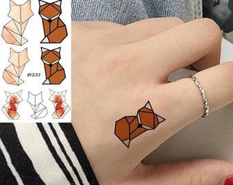 Renard origami Tatouage temporaire 10.5×6 cm