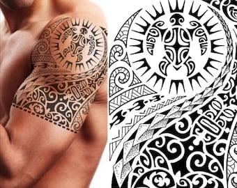 Polynesians temporary tattoo, Māori turtle, 21×15 cm