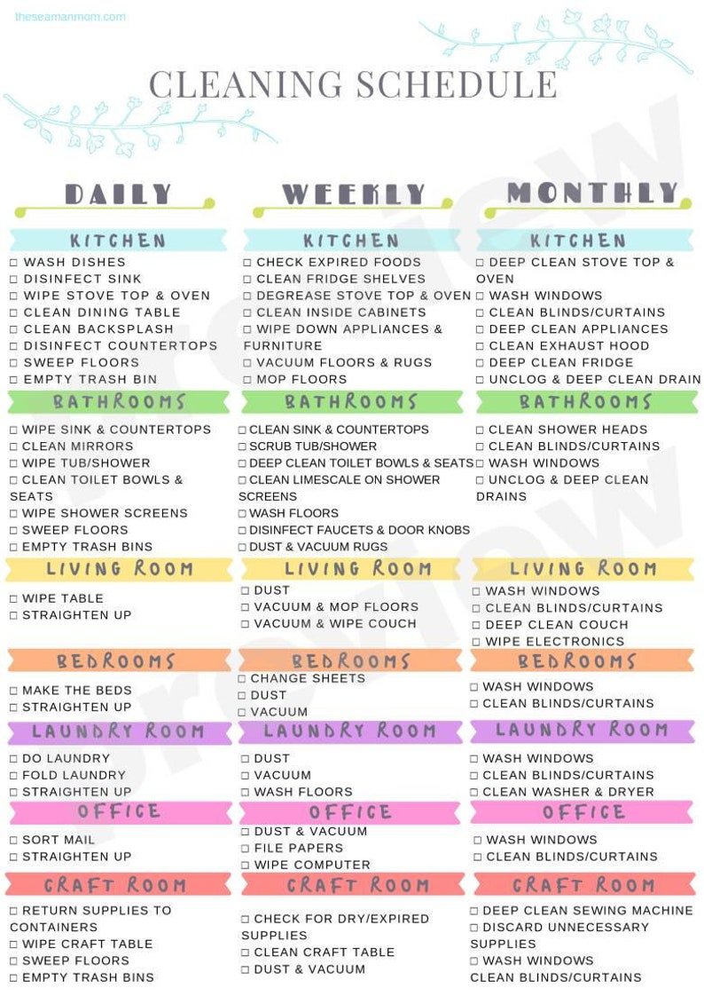Printable cleaning schedule cleaning schedule printable image 0