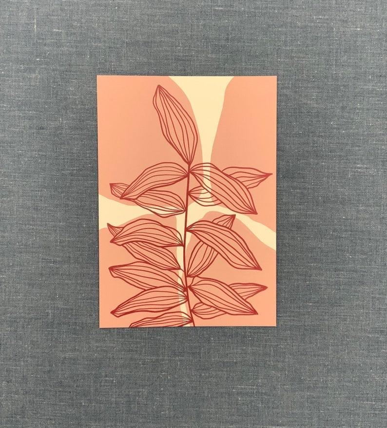 Almond Leaves Postcard A6 Postcard Wall Art Notecards Botanical Art Art Card Nature Card Illustration Art