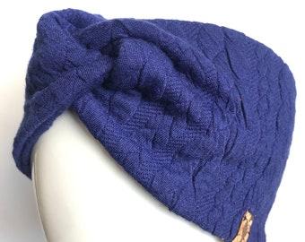 13f0c8fc786f59 Turban - Stirnband Zopfmuster cobolt blau
