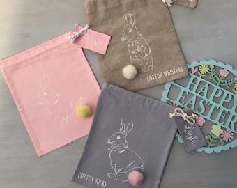 Personalised Handmade Easter Egg Hunt Treat Cotton Bags, Easter Decorations, Easter Bag, Easter Bunny, Easter Hunt, Easter Rabbit,