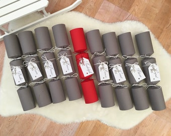 9 x Rudolph Reindeer Christmas Crackers Eco Friendly Sustainable & Personalised
