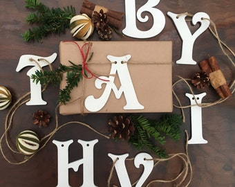 Wooden Letters Gift Tags Decorations Weddings Christmas Thanksgiving Birthdays Easter Name Labels