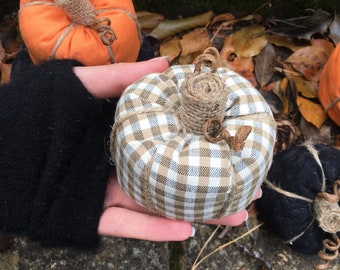 Sustainable Organic Pumpkins for Autumn Fall Season Recycled Fabric Filled with Fabric Pieces