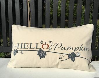 Hello Pumpkin Cushion Cover Autumn Fall Handmade Cotton Fall Trend Cushion Cover Farmhouse Style Cushion
