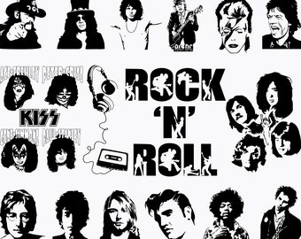 kiss the band etsy 1970s Toys bands svg bands silhouette nirvana svg the beatles ac dc svg kiss svg elvis svg rock and roll svg music svg silhouette for cricut