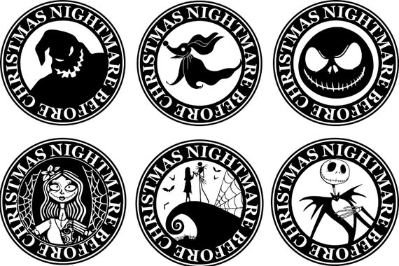 NIGHTMARE BEFORE CHRISTMAS PERSONALIZED ROUND STICKERS FAVORS ~ VARIOUS SIZES