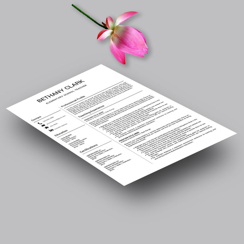 Professional Resume Template Teacher Resume Creative Resume Modern Resume Design \u2013 Simple clean easy to edit CV Template for MS Word