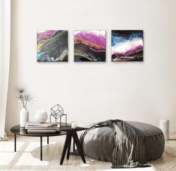 Reflections of the Night: Triptych resin wall art