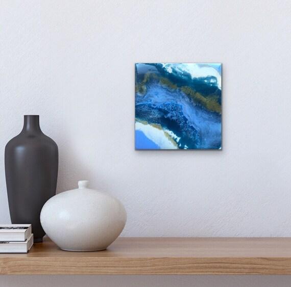 "Muted Sea Colour Study 4"" Original Resin Wall Art"