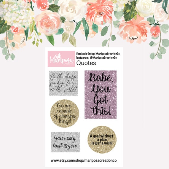 Quotes / Positive Quotes Sticker Sheet / Healthy Living / Wellness Stickers  / Planner Stickers / Happy Planner /