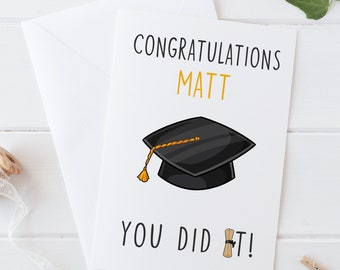 Personalised Graduation Congratulation Gift//Award//Trophy Cap and Scroll /& Stand