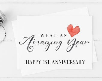 1st Anniversary Card Etsy
