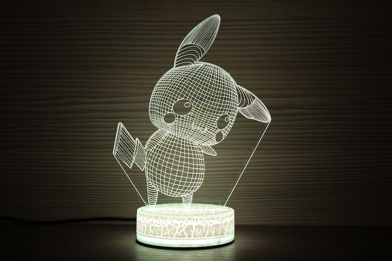 Birthday Night Lamp Light Led Kids Party Pokemon Illusion Idea For Him 3d Pikachu Pin Children Gift 0P8nwkO
