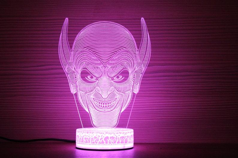 Goblin maschera Spiderman 3D Night lampada Goblin 3D luce EFZOmiJ8
