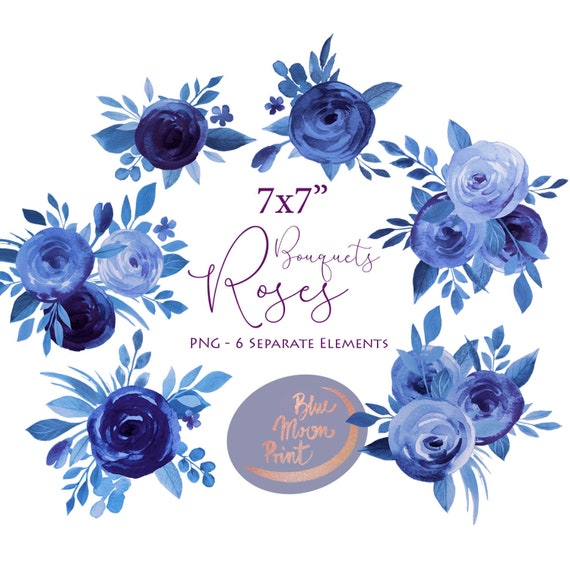Navy Blue Bouquets Of Roses And Peonies Watercolor Floral Clipart Ready Made Arrangements Png Files Set Digital Download
