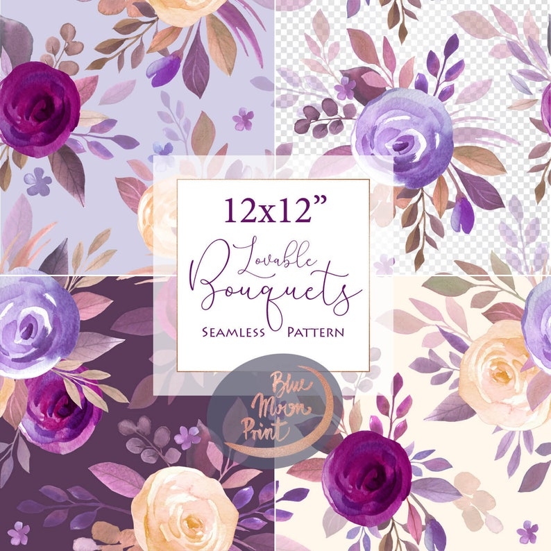 Lilac cream burgundy Flowers, watercolor floral Seamless Patterns  Rose  bouquets, Fabric design, Digital Papers pack  Free Commercial use