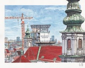 "Watercolor / Art Print ""Esterhazy-Flakturm/Haus des Meer in Wien"", Urban Sketch, Watercolour, Watercolor Study"