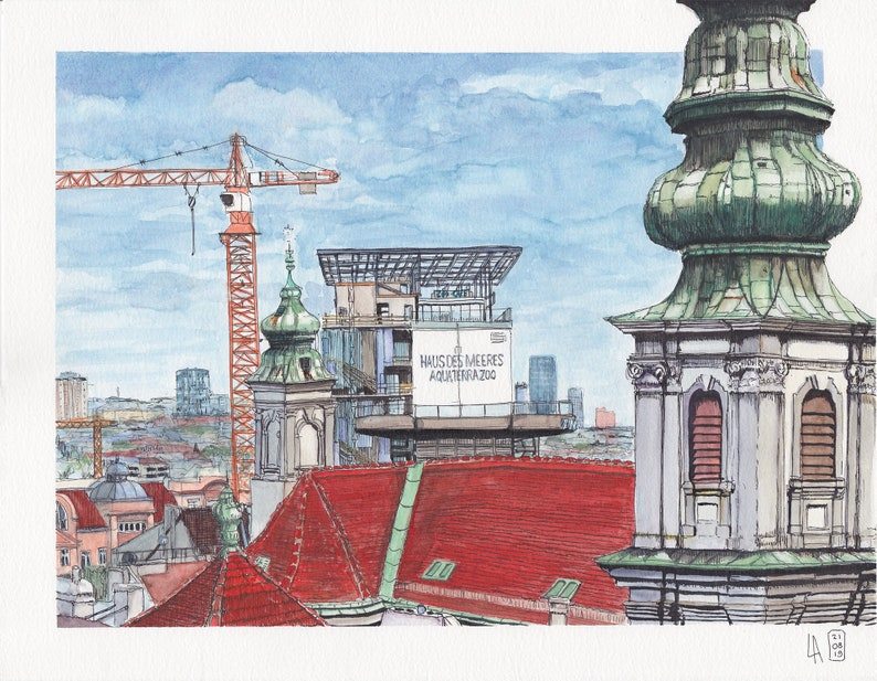 Watercolor / Art Print Esterhazy-Flakturm/Haus des Meer image 0