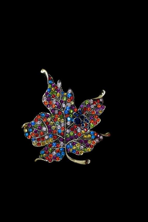 Huge leaf brooch with colorful rhinestone jewelry