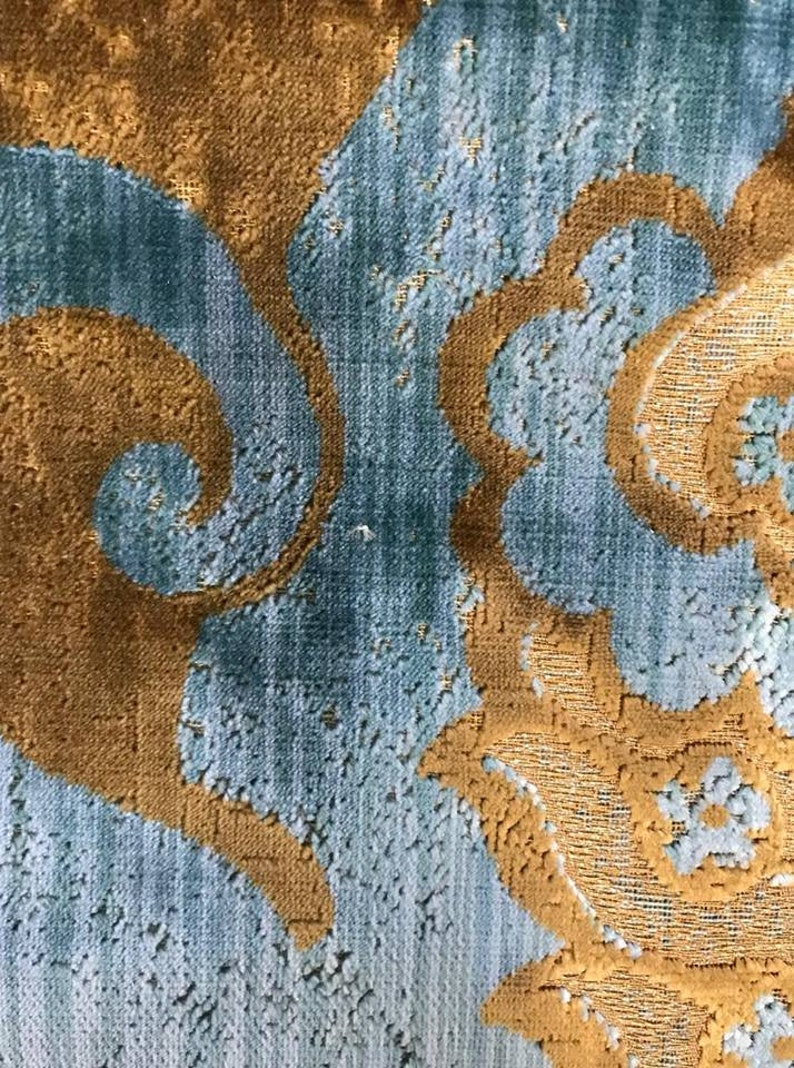LUXURY DESIGNER fabric Fadini Borghi velvet upholstery fabric with real gold thread.