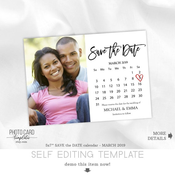 march 2019 save the date calendar save the date template. Black Bedroom Furniture Sets. Home Design Ideas