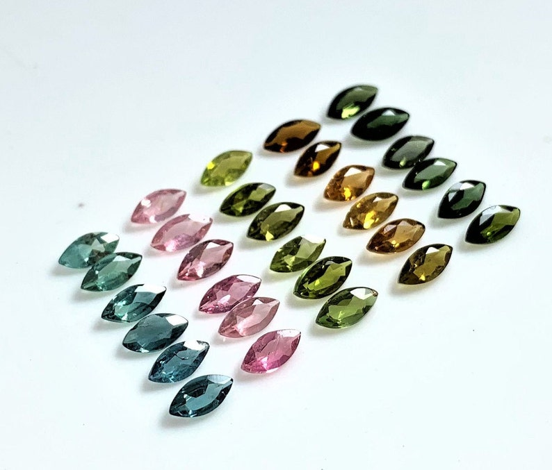 Pendant Bracelet AAA++ Quality Loose Gems Stone 3 Lots Earrings 2.50X5.00 M.M Natural Bio Multi Tourmaline Faceted Marquis For Rings