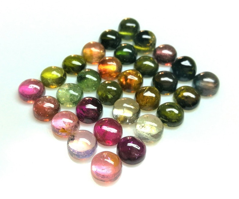 6 M.M.Round Natural Multi Tourmaline Cabochon AAA+ Quality Loose Gems Stone 30 Pieces 32.45 Carat Approx