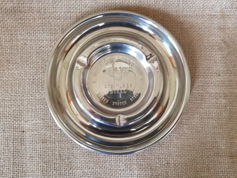 Vintage American Steel /& Wire Company United States Steel Ash Tray Stainless Steel