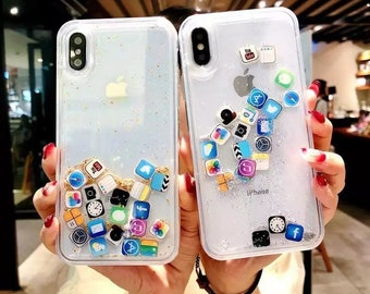 iPhone XR XS Max Phone Case Applications Floating Liquid Apps Clear Glitter  Transparent Sparkle Case 5b1dbbd1d5