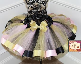 Baby Girl LADY BUG Miraculous inspired Tutu gold red black iron on 1st 2nd. Costumized name crow birthday cake smash photo shoot