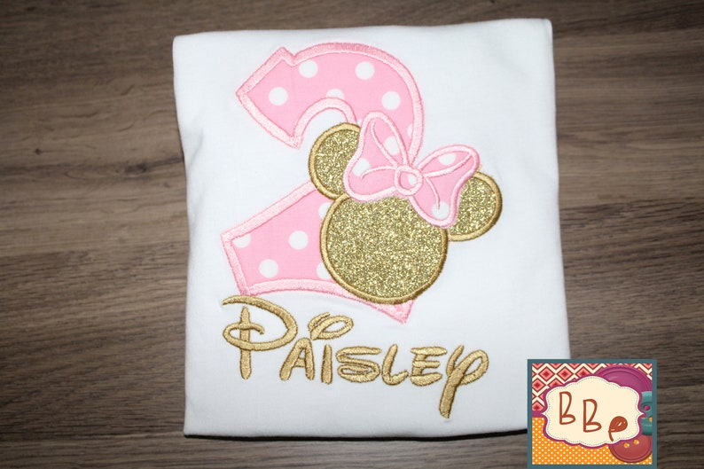 Pink and Gold Minnie Girl Shirt Embroidered Birthday Pink Gold Minnie Top Personalized