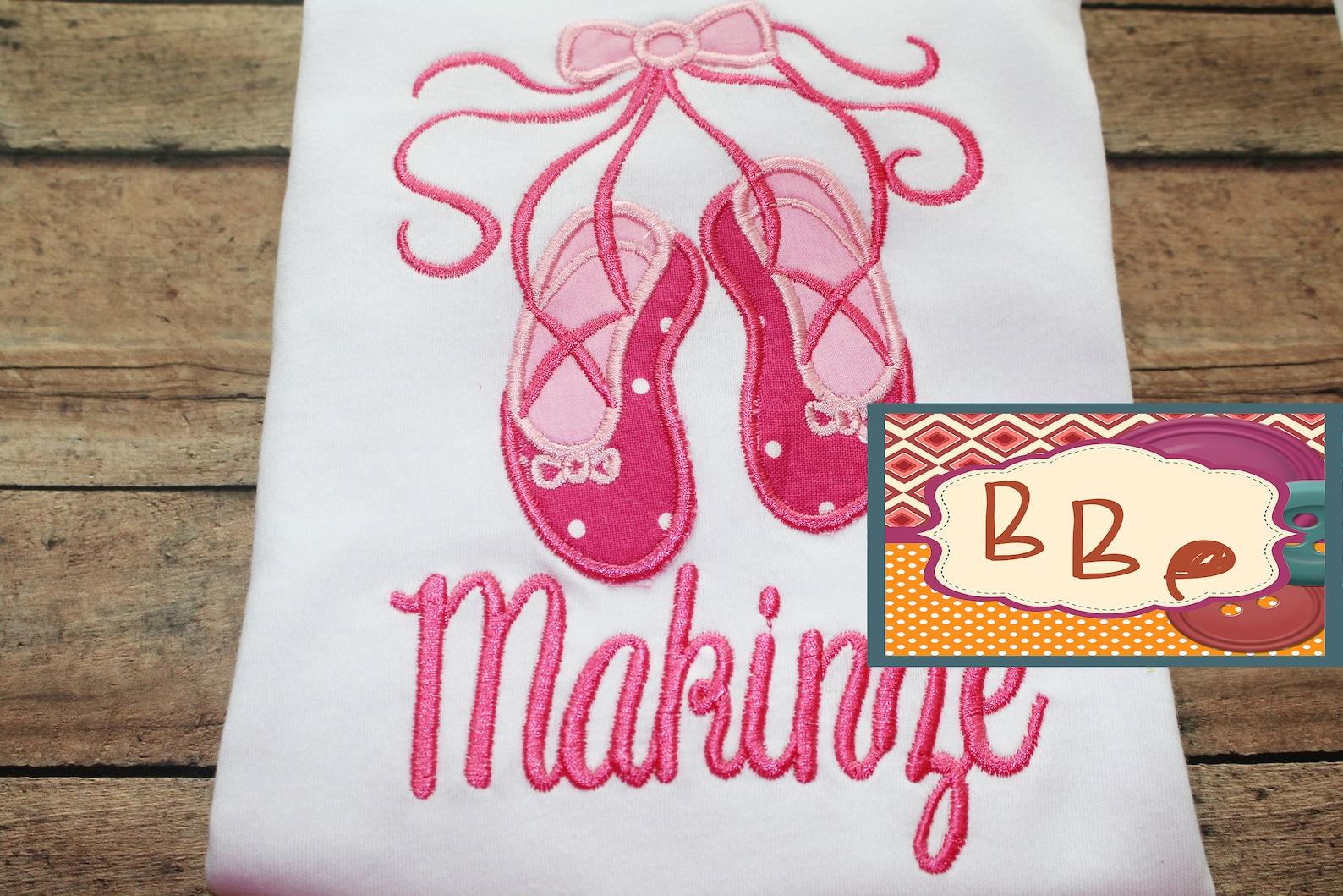 ballet shoes shirt embroidered - ballerina girl top