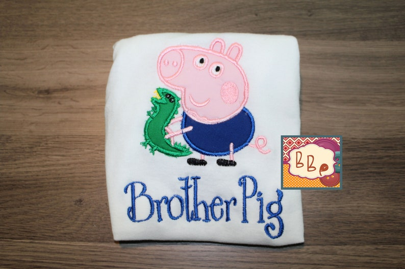 Brother Pig Top T-shirt Embroidered Boy Peppa Pig George Bodysuit George Pig Brother Top