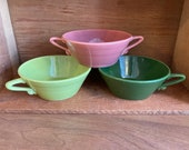 choice of harlequin cream soup bowl. rose or chartreuse or dark green. handled bowl. homer laughlin