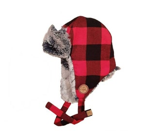 0c8a20800aa6d0 Red and Black Plaid Trapper lined with Faux Fur