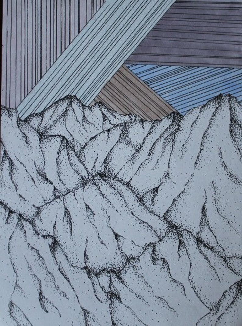 Mountains Pointillism Drawing Etsy