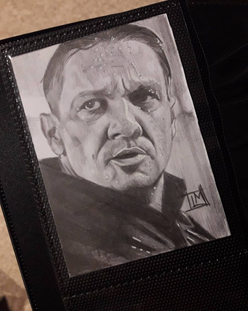 Ronin Avengers:Endgame sketch card 3.5 x 2.5 pencil and white gel pen on card