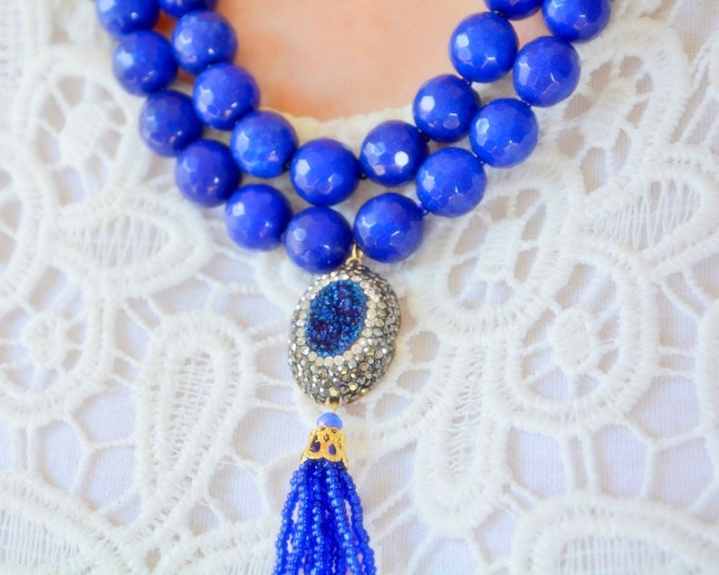 Parlament Gold Druzzy Necklace Jewelry blue Druzy Necklace Multi Strand Tassel Necklace Navy Drusy Gemstone Necklace Lines Bead Necklace