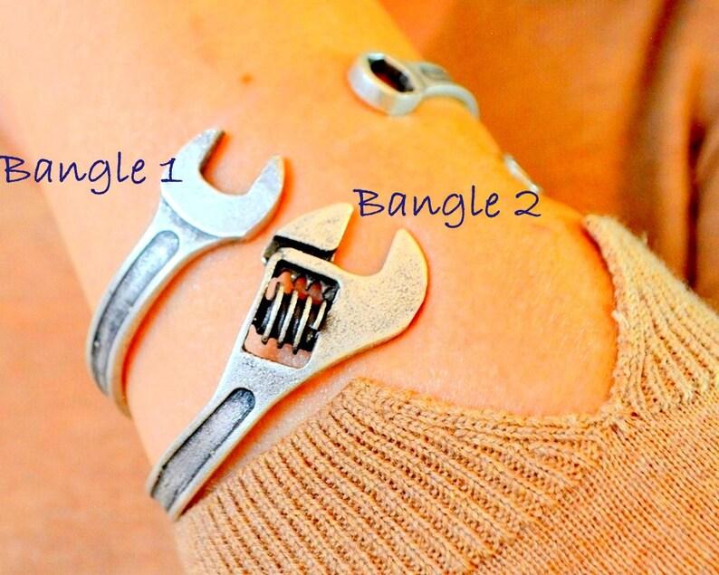 Biker bangle spanner tool Bracelet Engineer mechanics Cuff handyman Cuff Man wrench Bangle Vintage Spanner Bracelet Exclusive Gift 2