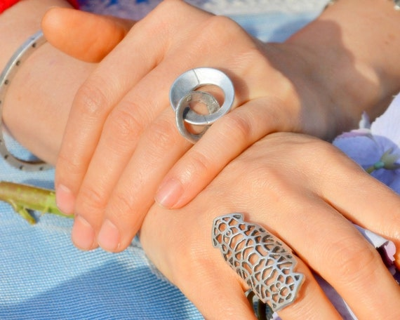 Nest Silver Ring Filigree Lace Ring Middle Finger Ring Etsy