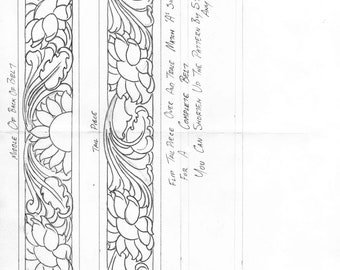 image regarding Printable Leather Tooling Patterns named Sunflower Chap Yoke Routine Etsy